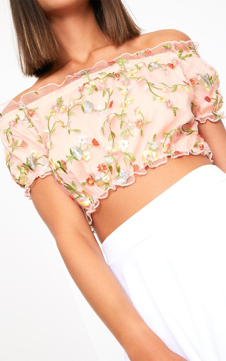 Nude Embroidered Bardot Crop Top 5