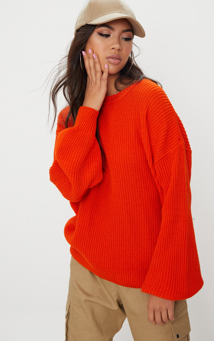 Orange Oversized Balloon Sleeve Jumper 4