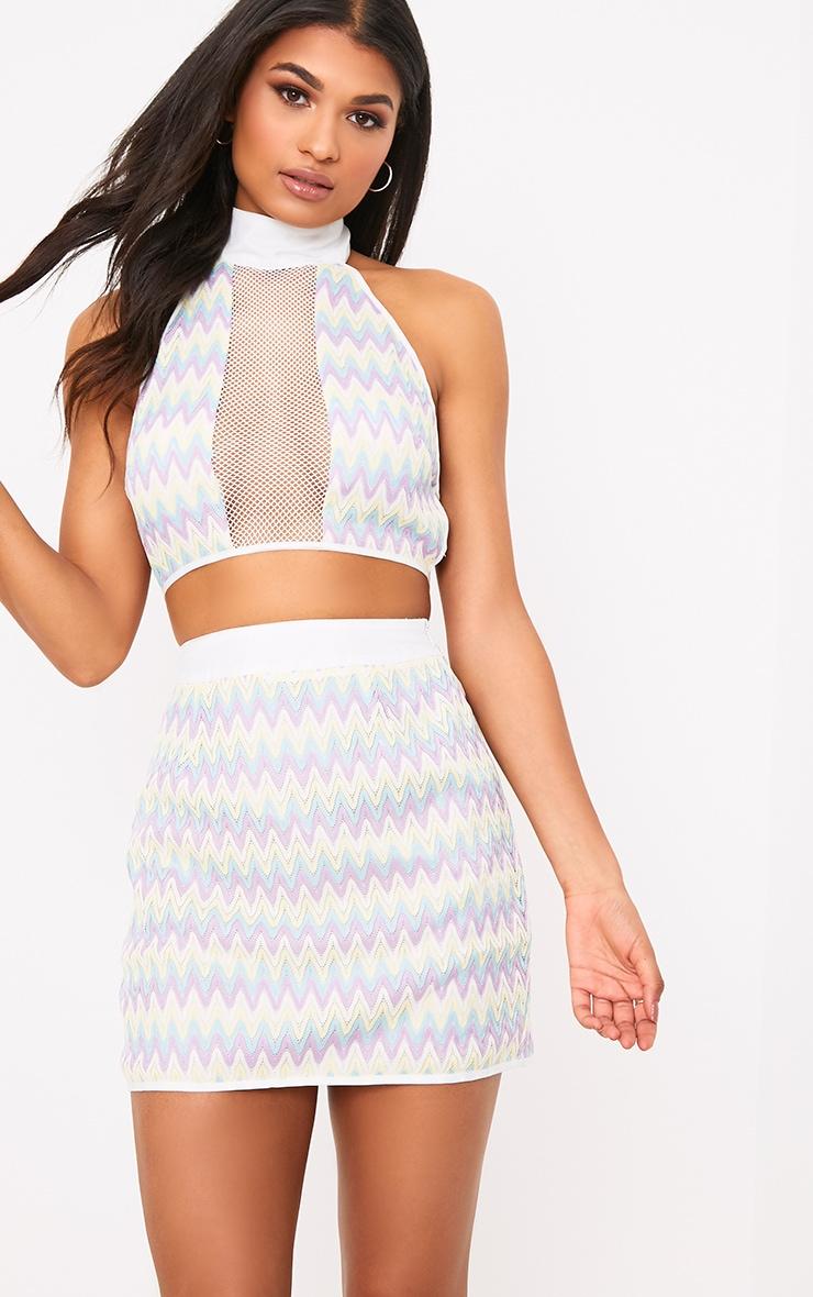 Amette Lilac Chevron Mini Skirt  1