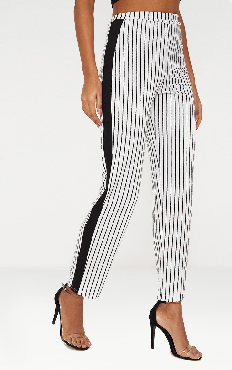 White Stripe Contrast Panel Trouser  2
