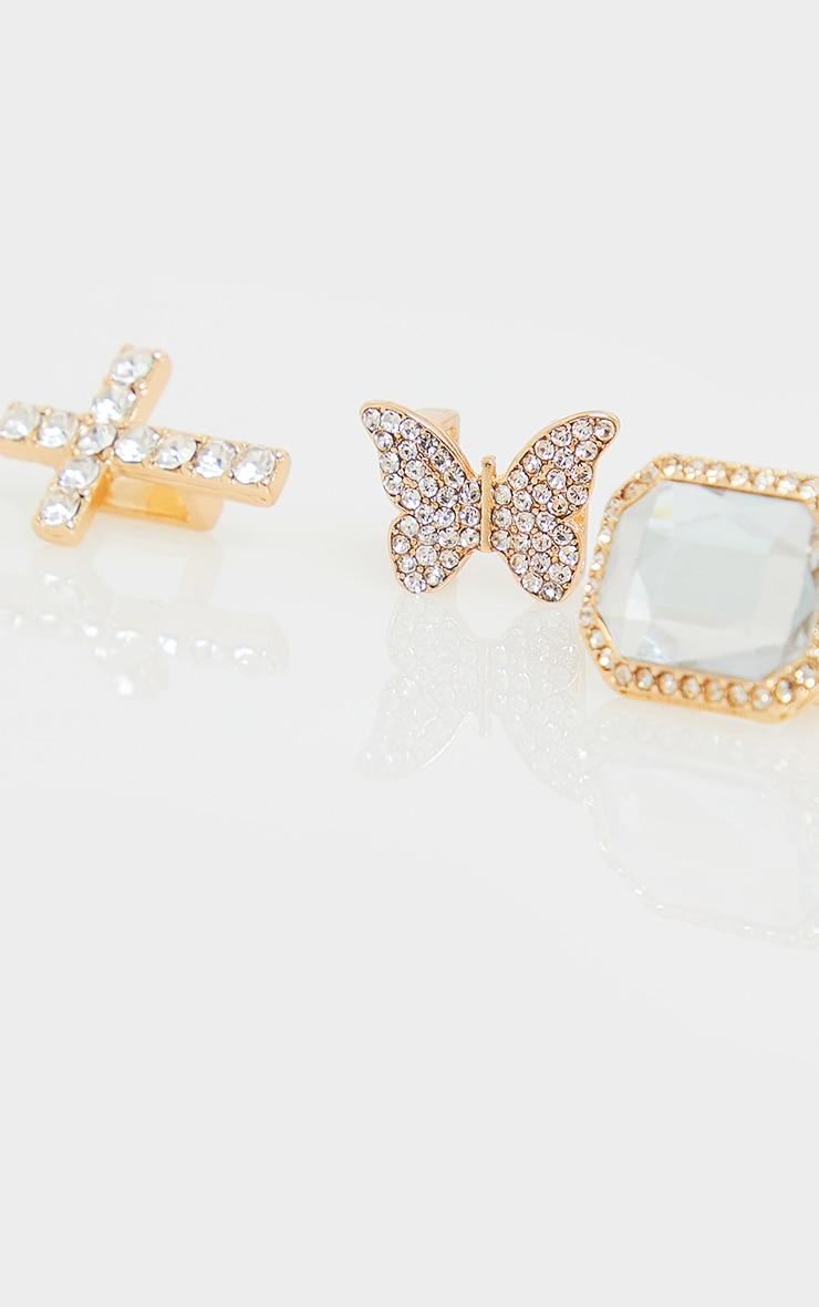 Assorted Diamante Gold Shoe Gems 3