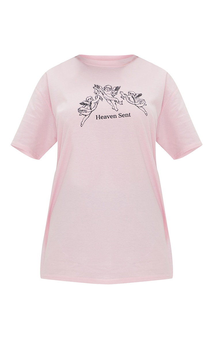 Baby Pink Heaven Sent Angel Printed T Shirt 5