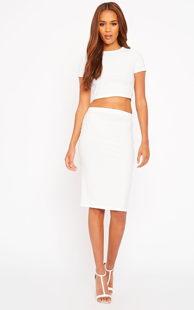 Klarisa Cream Midi Skirt 1