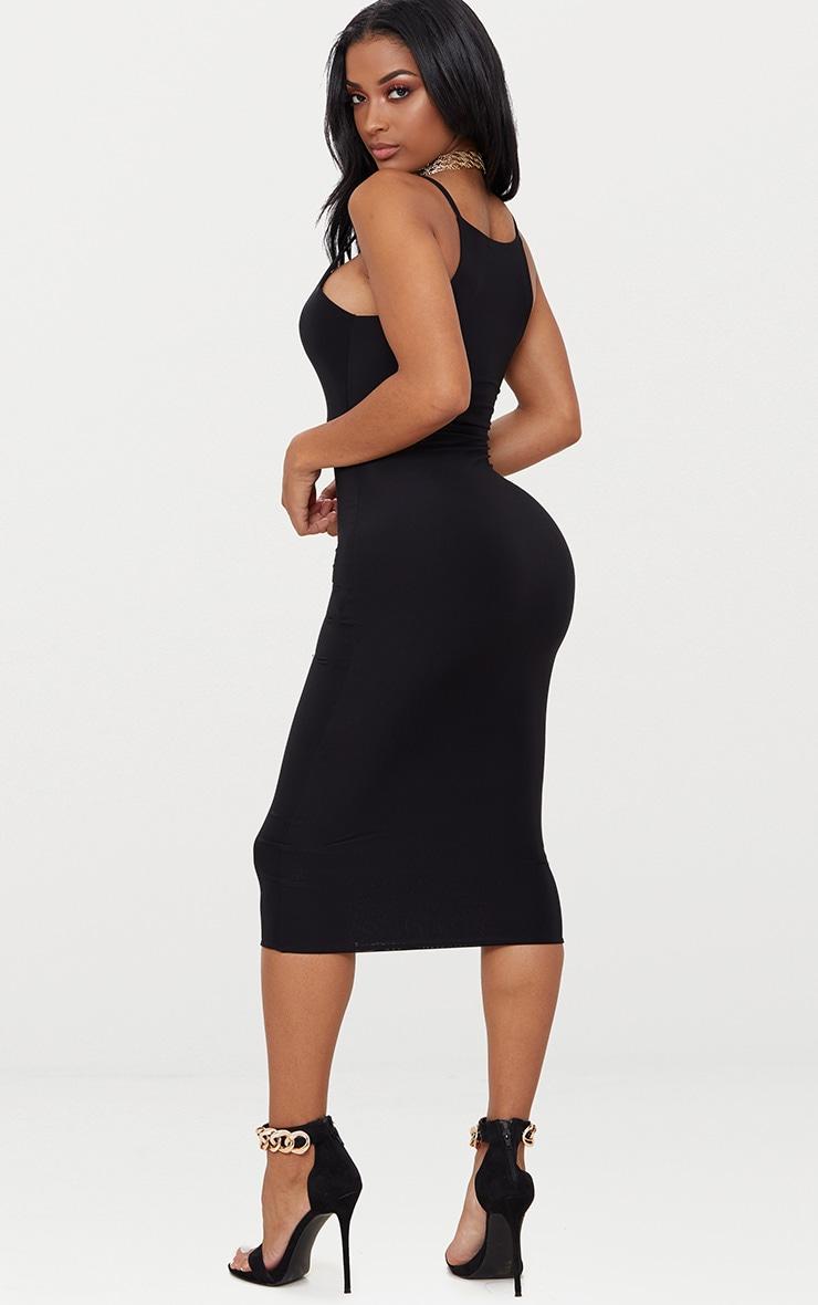 Shape Black Slinky Strappy Scoop Neck Midi Dress 2