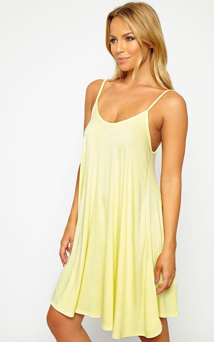 Basic Lemon Strappy Jersey Swing Dress 3