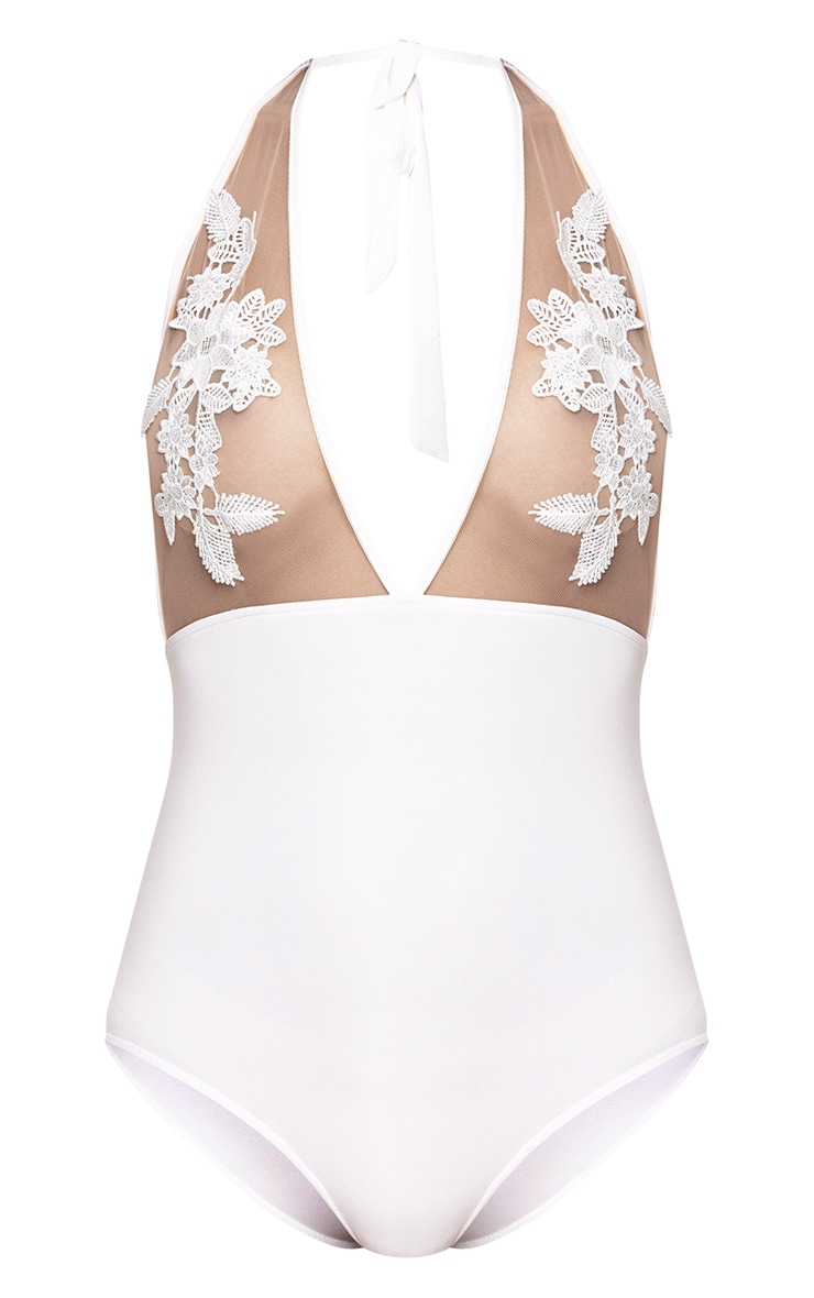 White Embroidered Tie Back Bodysuit 2