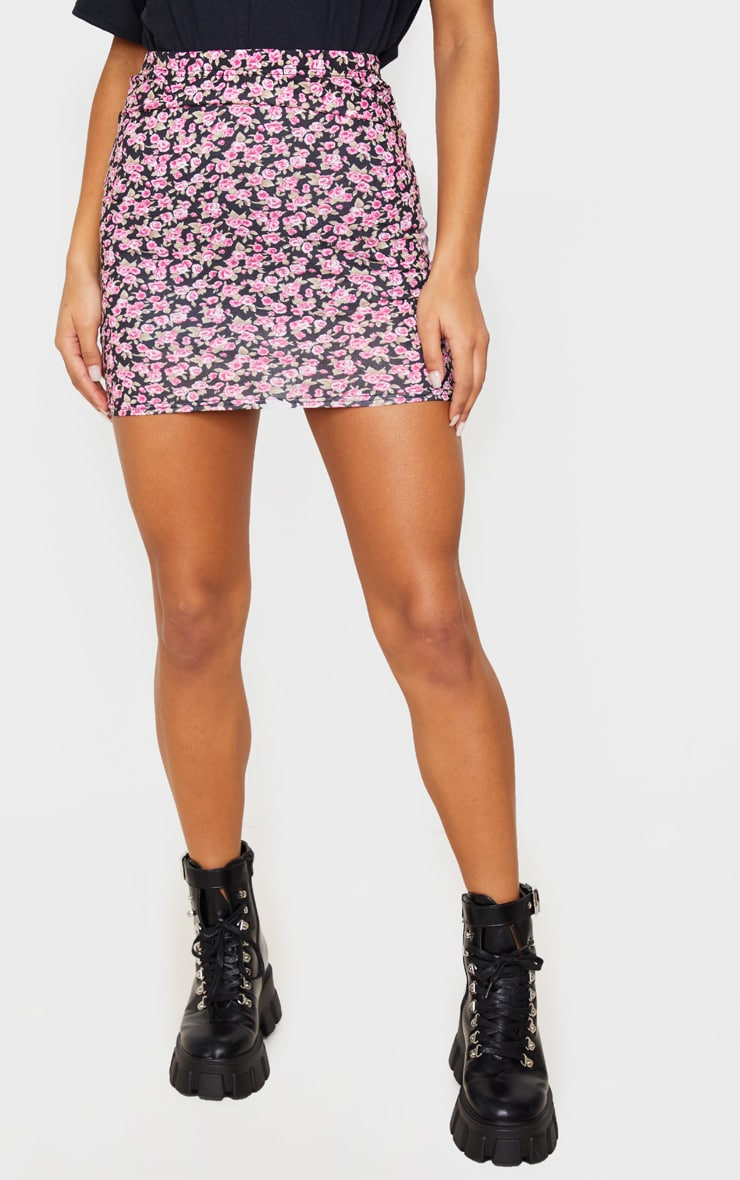 Pink Ditsy Floral Jersey Mini Skirt 2