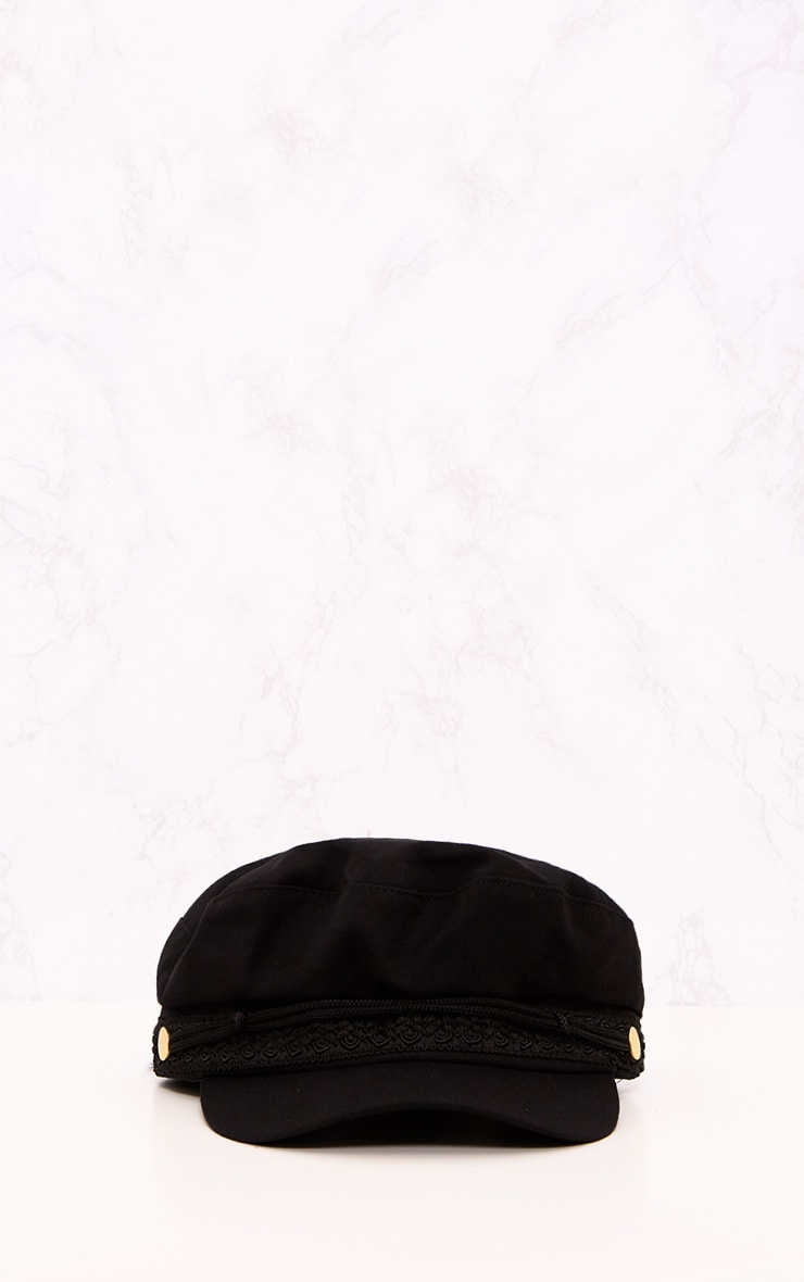 Black Flat Top Baker Boy Hat 3