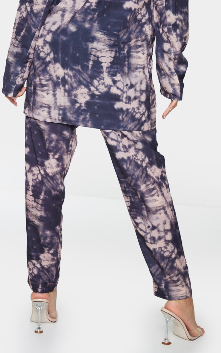 Grey Tie Dye Print Woven High Waisted Straight Leg Trousers 3