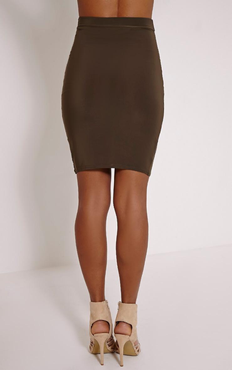 Darcia Khaki Ruched Front Midi Skirt 4