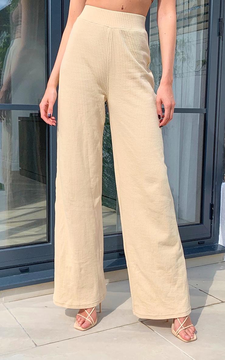 Pantalon ample gris pierre en maille côtelée 2