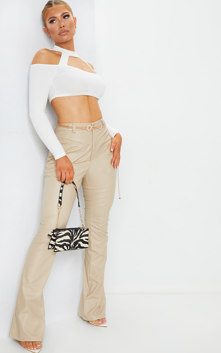 White Crepe Bardot High Neck Cut Out Crop Top 3
