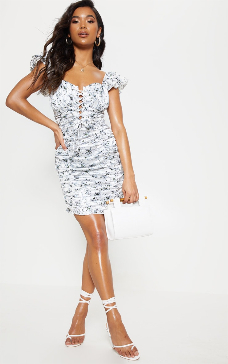White Floral Satin Ruched Bardot Bodycon Dress 5