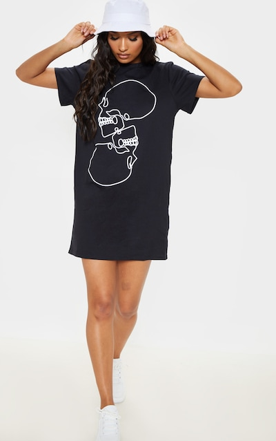 607fda53bd9 Black Skull Slogan Oversized T Shirt Dress