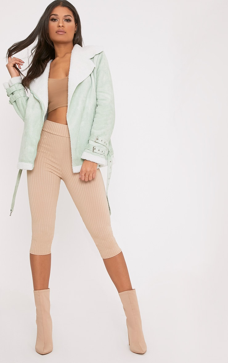 Emilia Sage Green Faux Suede Aviator Jacket 4
