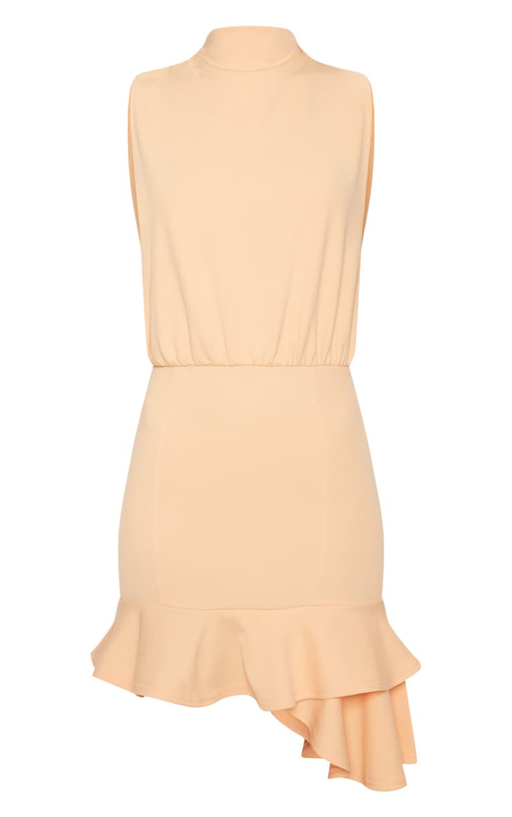 Tangerine High Neck Frill Hem Bodycon Dress 3