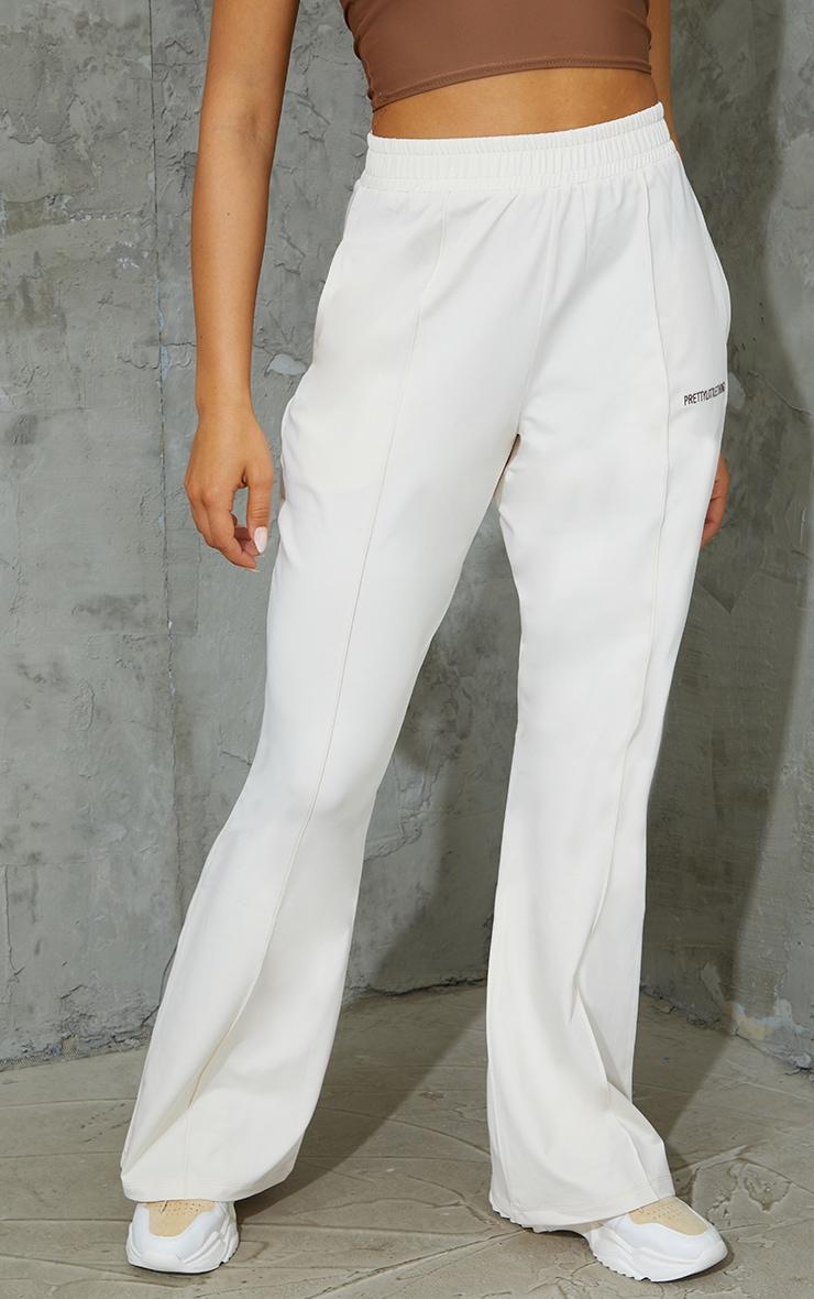 PRETTYLITTLETHING Cream Stretch Scuba Wide Leg Pants 2