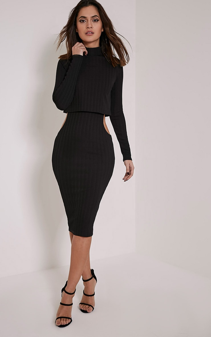 Alma Black Ribbed Cut Out Long Sleeve Midi Dress 1