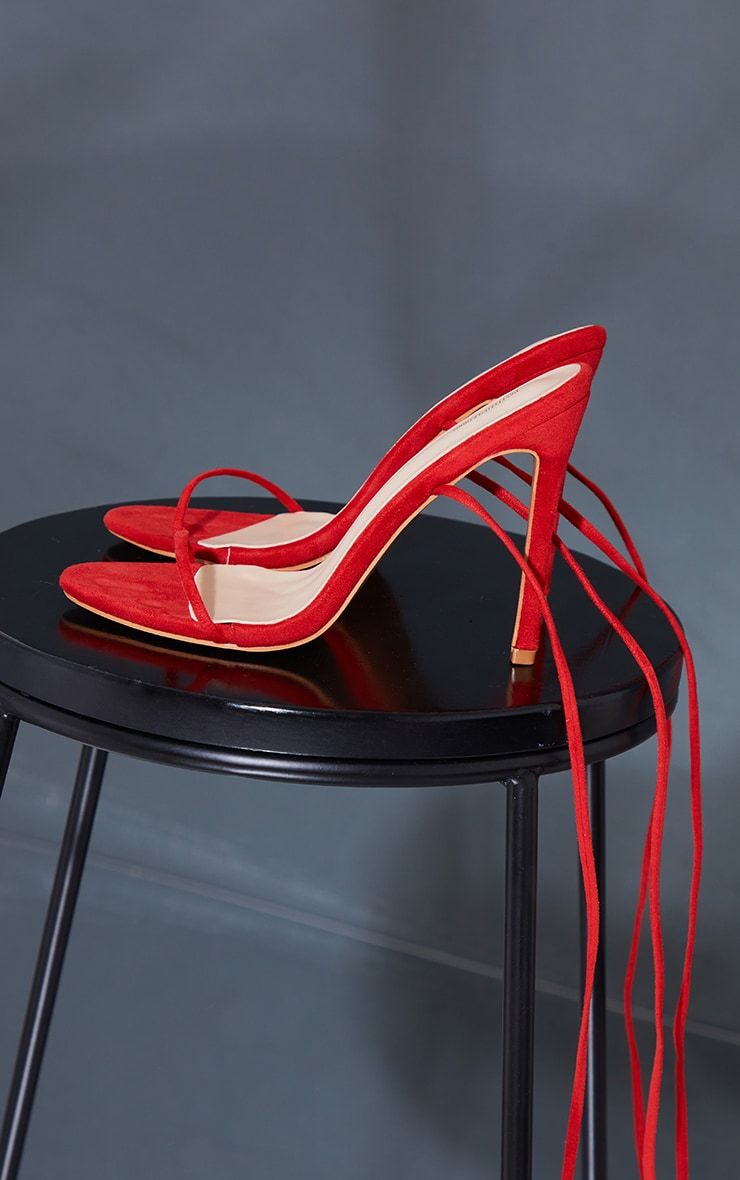 Red Wide Fit Faux Suede Round Toe Barely There Strappy Heeled Sandals 4