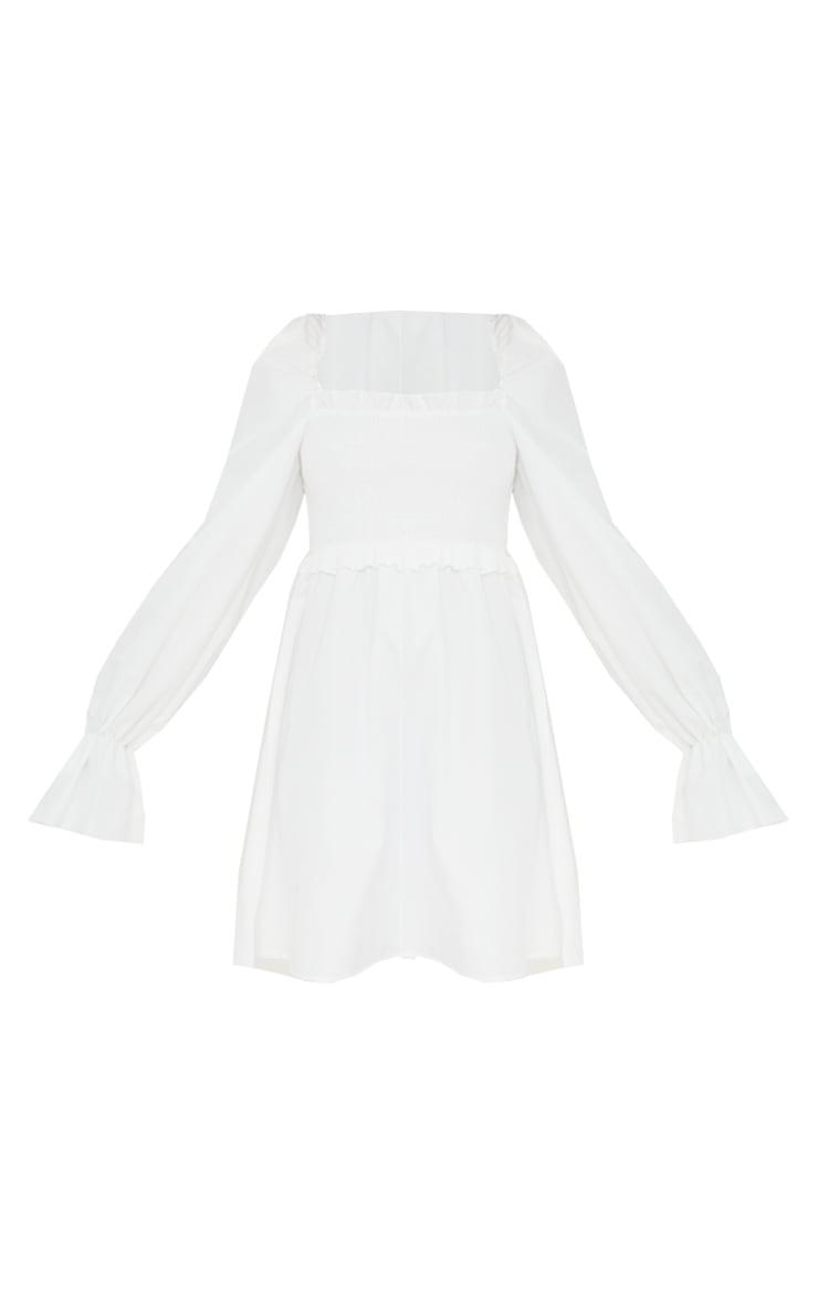 White Woven Shirred Frill Detail Square Neck Shift Dress 5