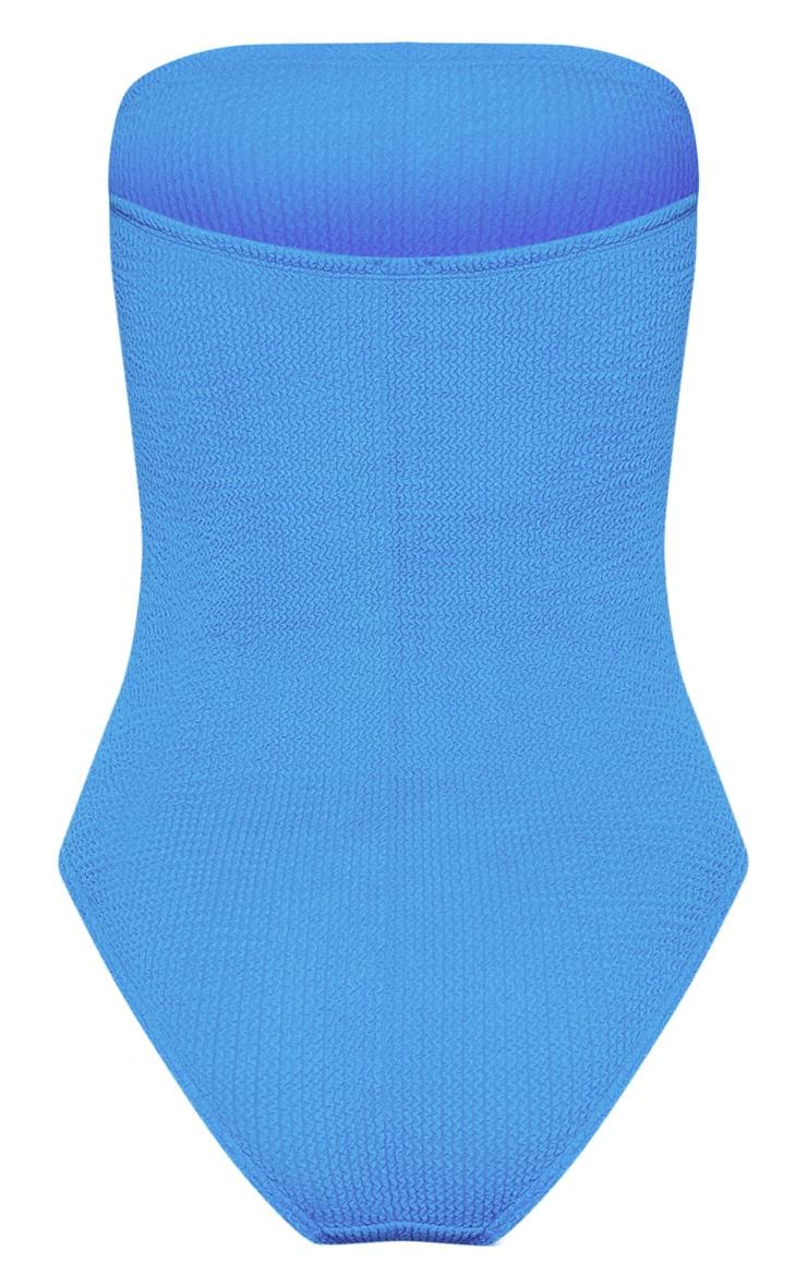 Maillot de bain sans bretelles froncé bleu 6