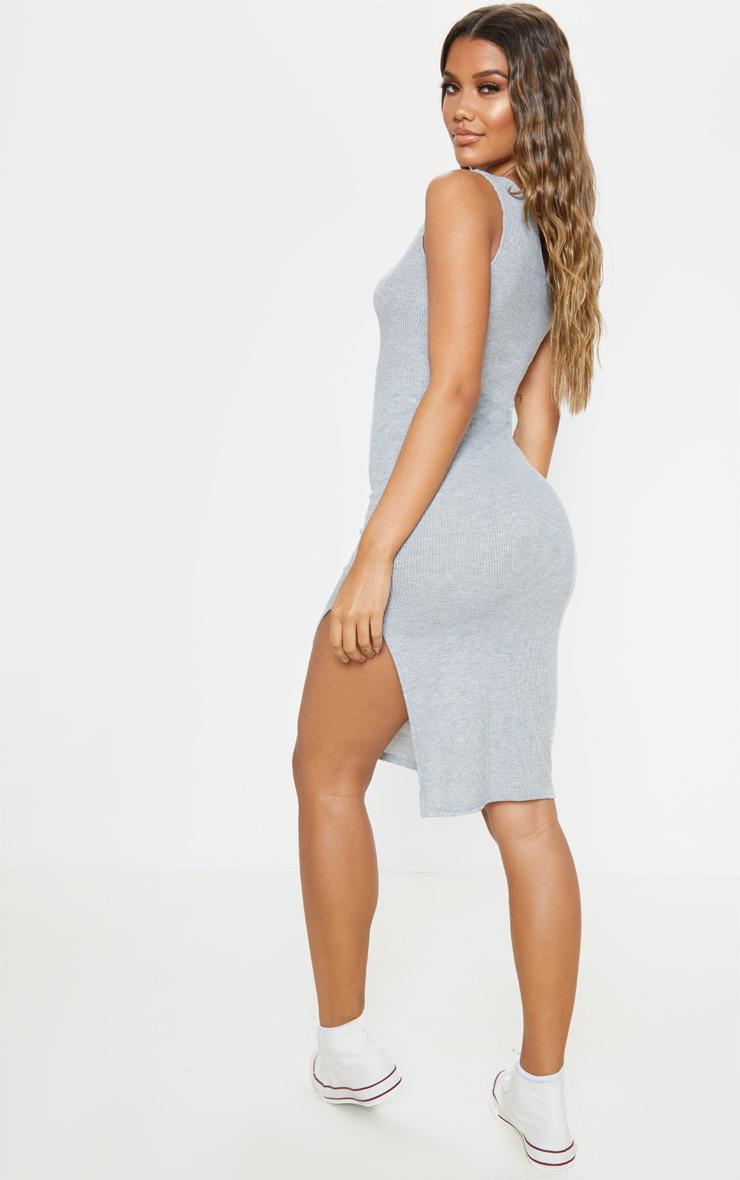 Grey Ribbed One Shoulder Midi Dress 2