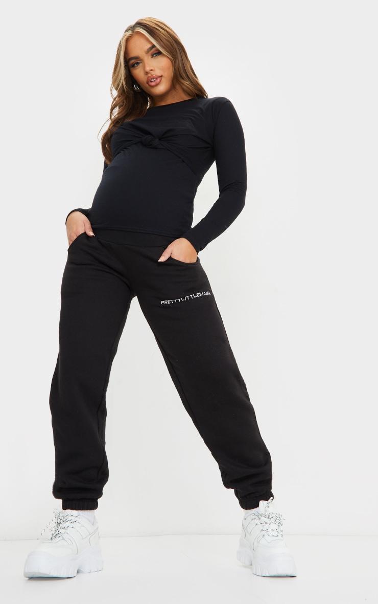 Maternity Black Basic Knot Front Nursing Top 3