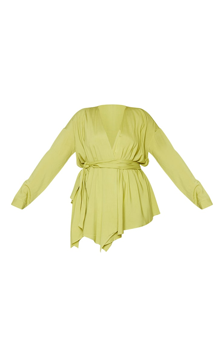 Plus Lime Woven Tie Waist Blouse 5