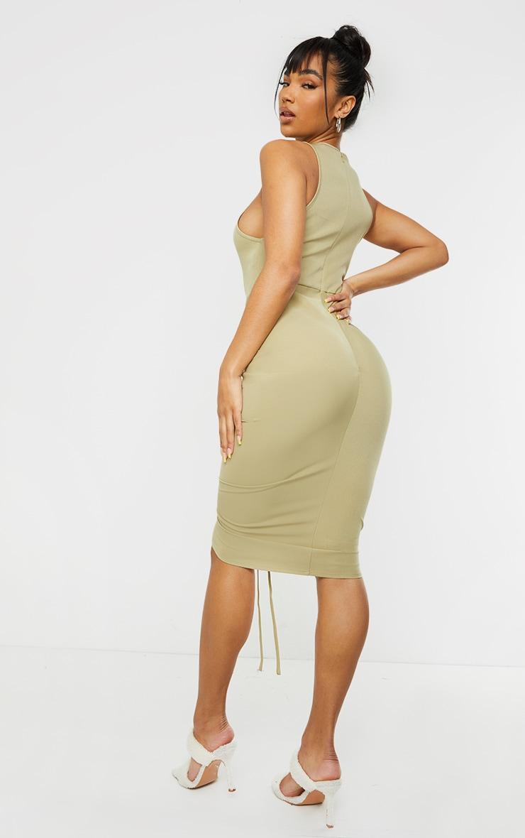 Sage Green Sleeveless Gathered Ruched Skirt Midi Dress 2
