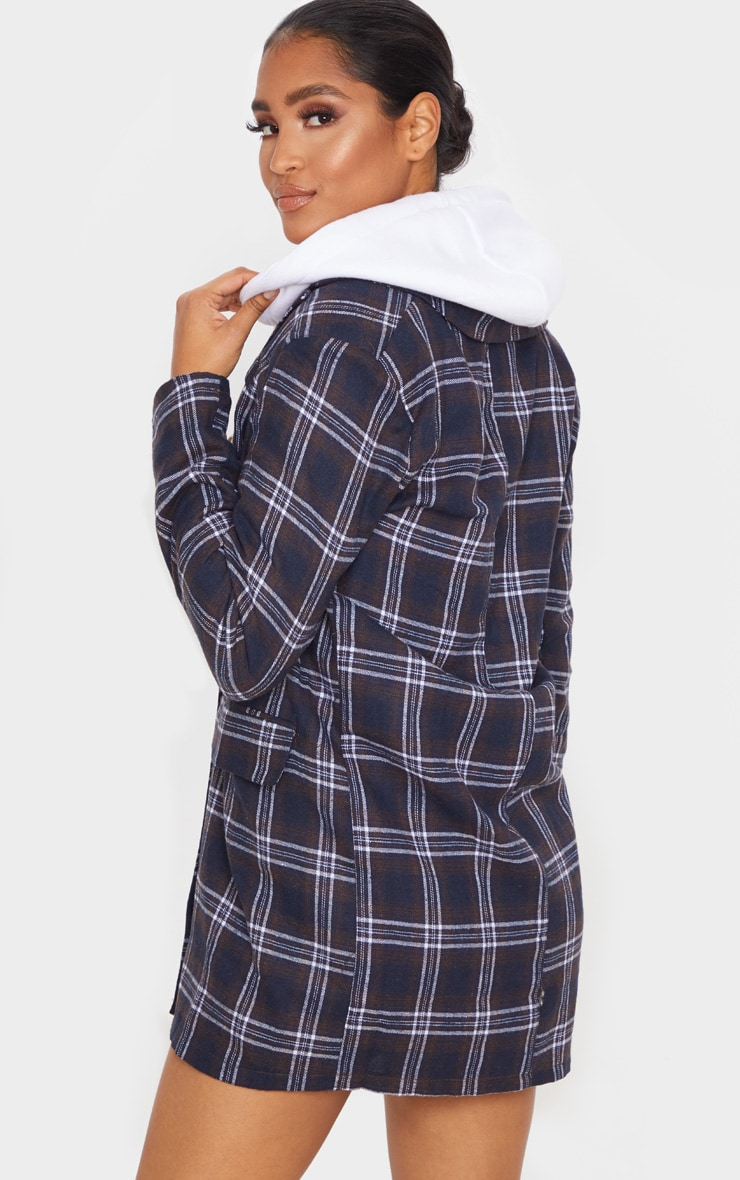 Chocolate Check Print Button Front Detail Oversized Blazer Dress 2