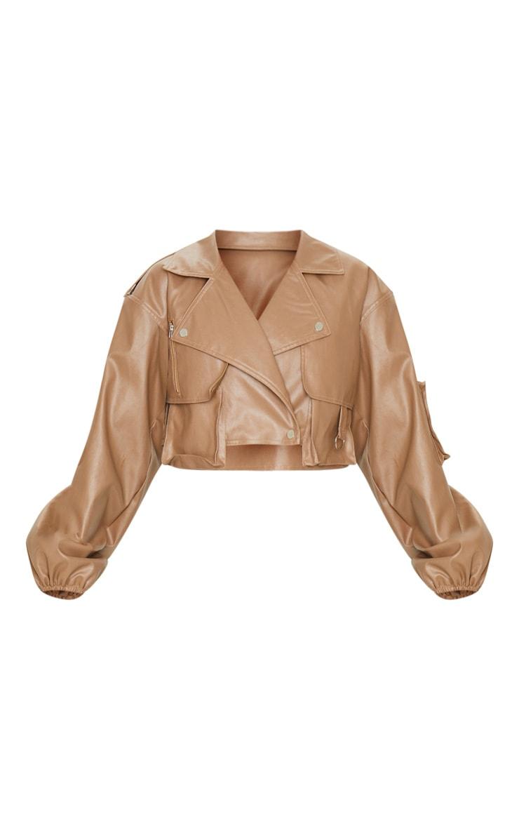 Tan Faux Leather Crop Biker Jacket 5