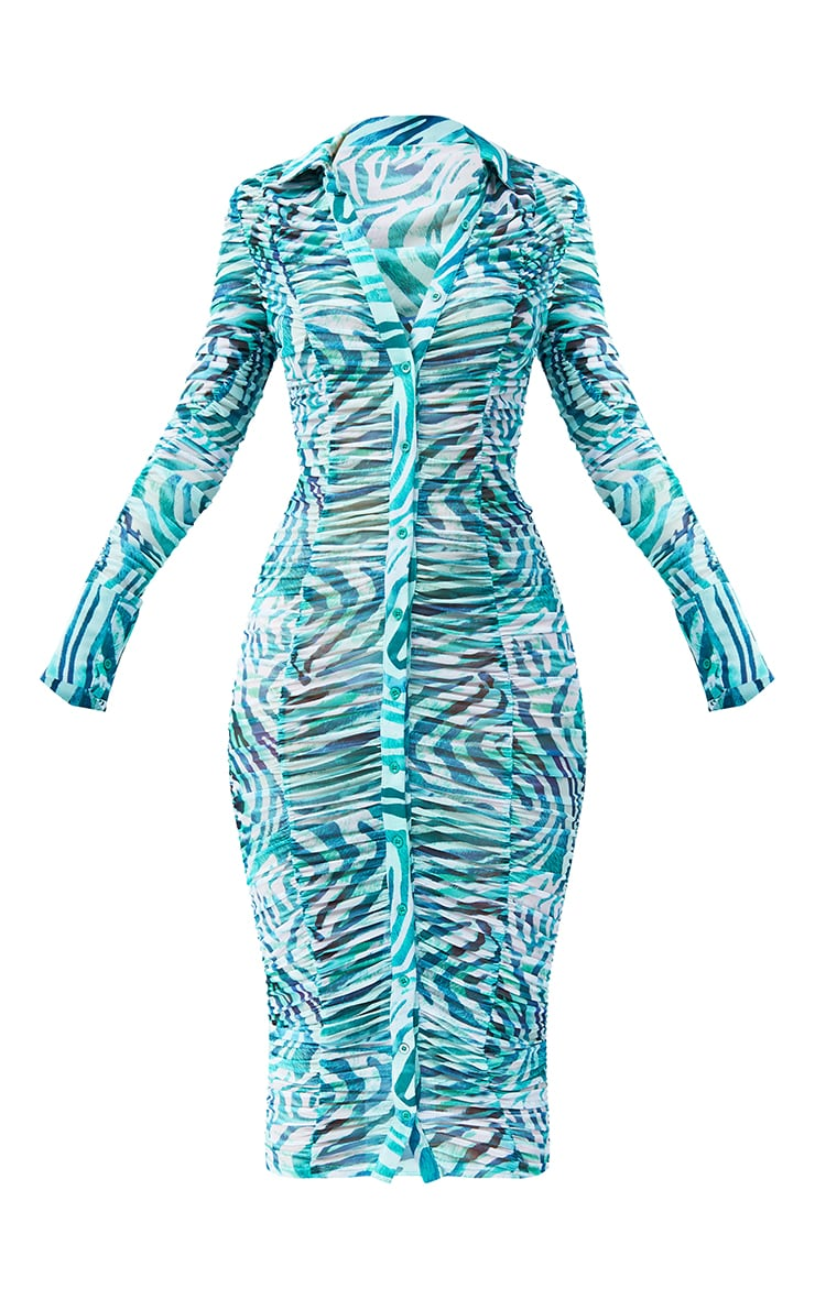 Green  Zebra Print Mesh Ruched Long Sleeve Midi Shirt Dress 5