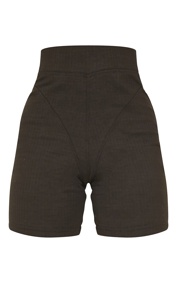 Petite Black Ribbed Seam Detail Bike Shorts 6