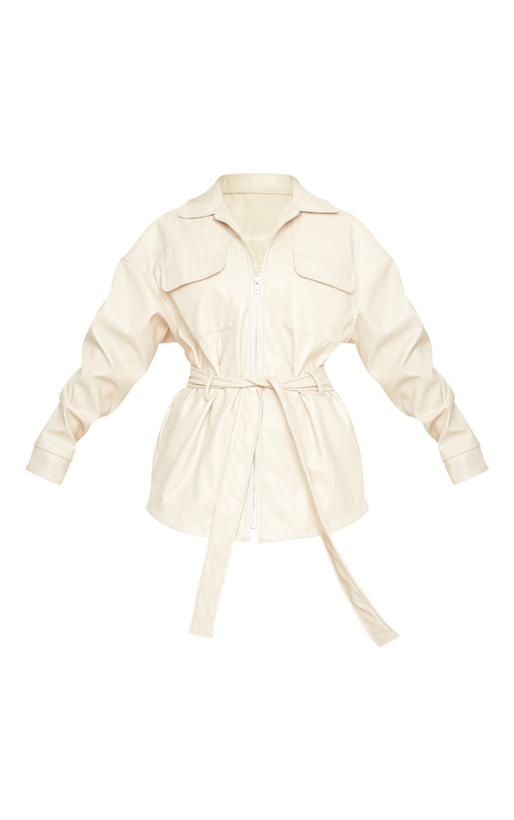 Petite Cream Faux Leather Belt Detail Jacket 3
