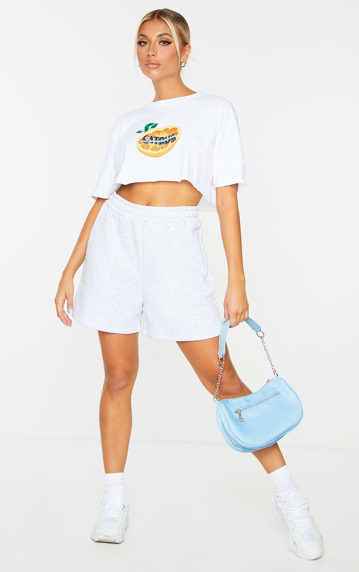 White Citrus Print Cropped T Shirt 3