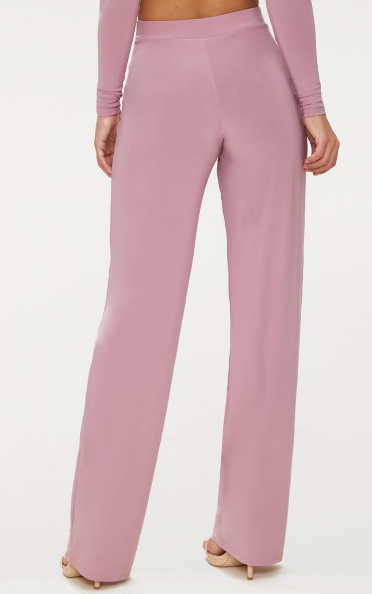 Petite Dark Mauve Slinky Wide Leg Trousers 4