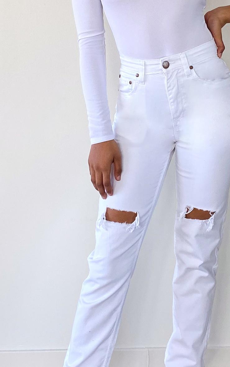 Tall White Rip Knee Mom Jean 4