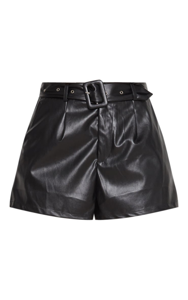 Black Faux Leather Belted Short 3