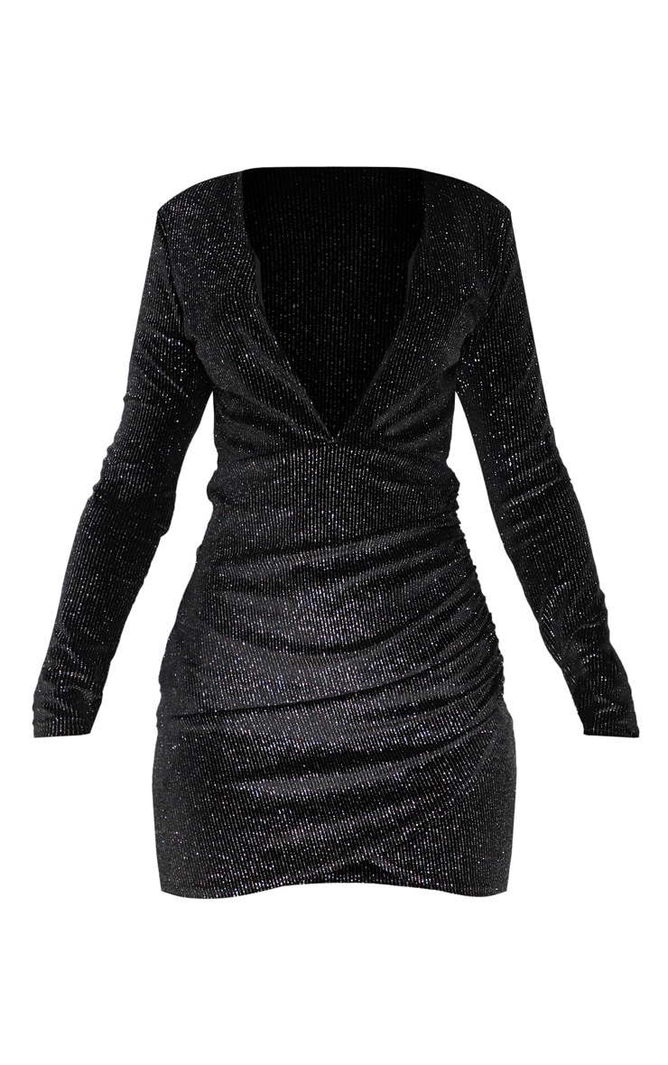 Black Velvet Multi Glitter Plunge Ruched Bodycon Dress 3