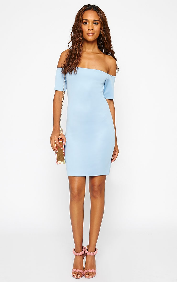 Basic Powder Blue Bardot Bodycon Dress 3