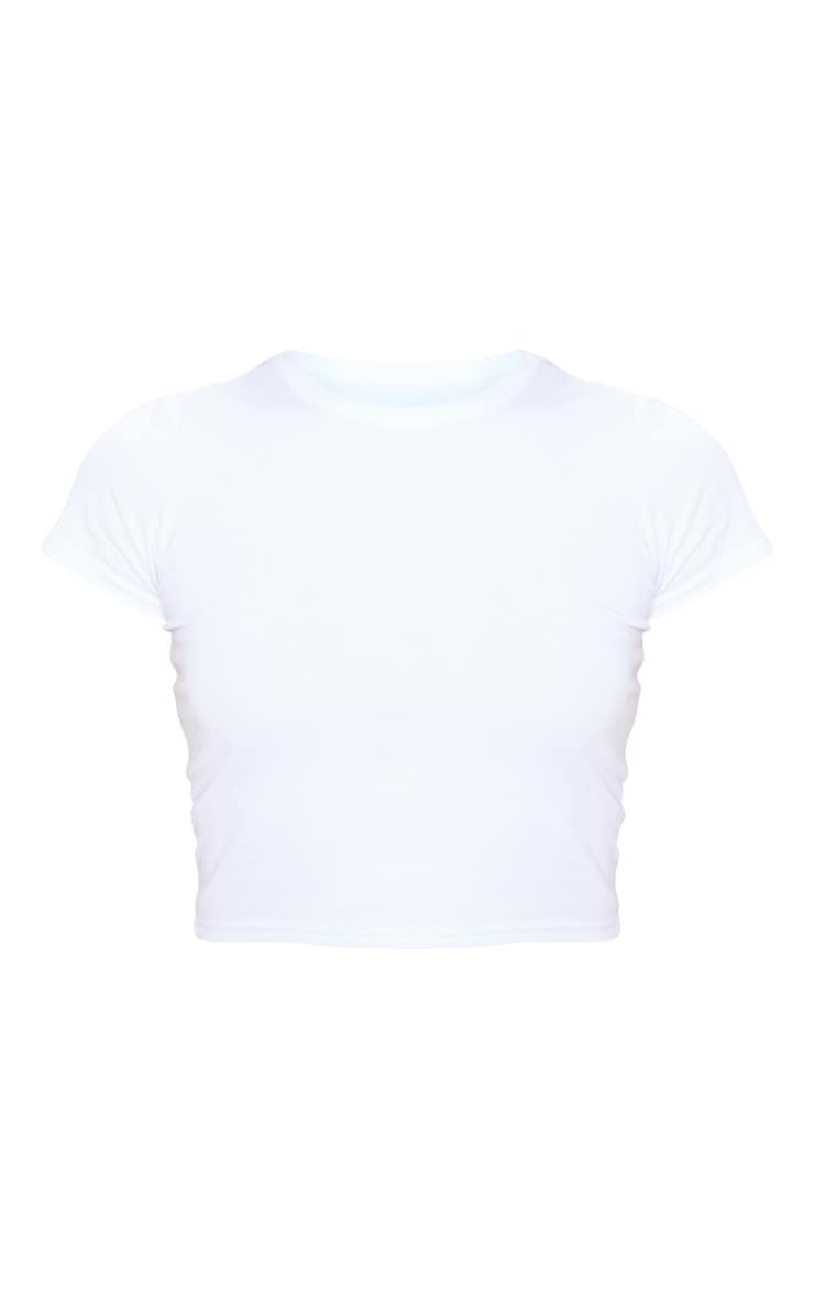 White Cotton Short Sleeve Crop Top 3