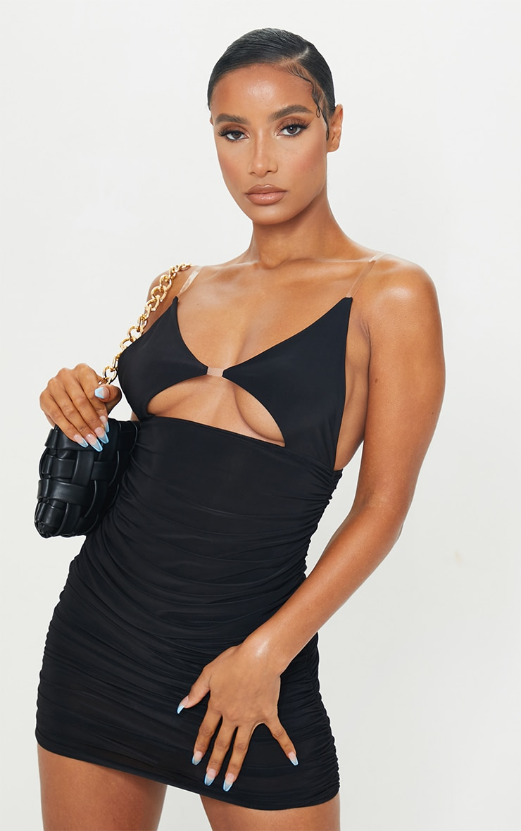 Black Slinky Clear Strap Detail Cut Out Ruched Bodycon Dress 1