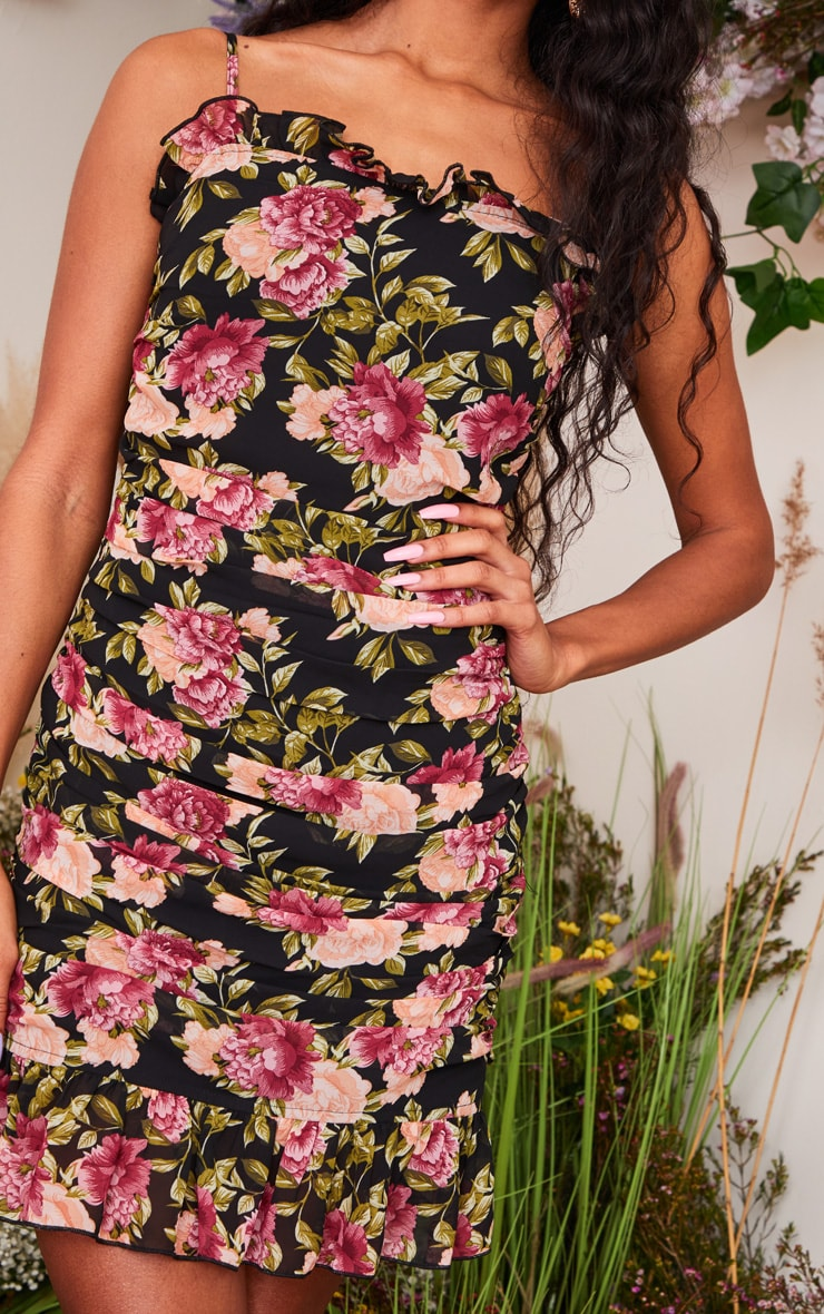 Black Floral Print Mesh Ruched Strappy Bodycon Dress 4