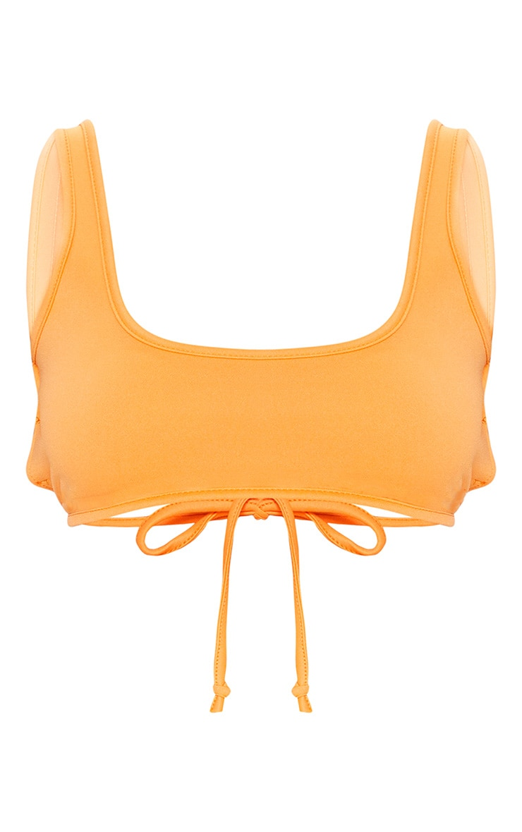 Orange Crepe Scoop Neck Strap Crop Top 3