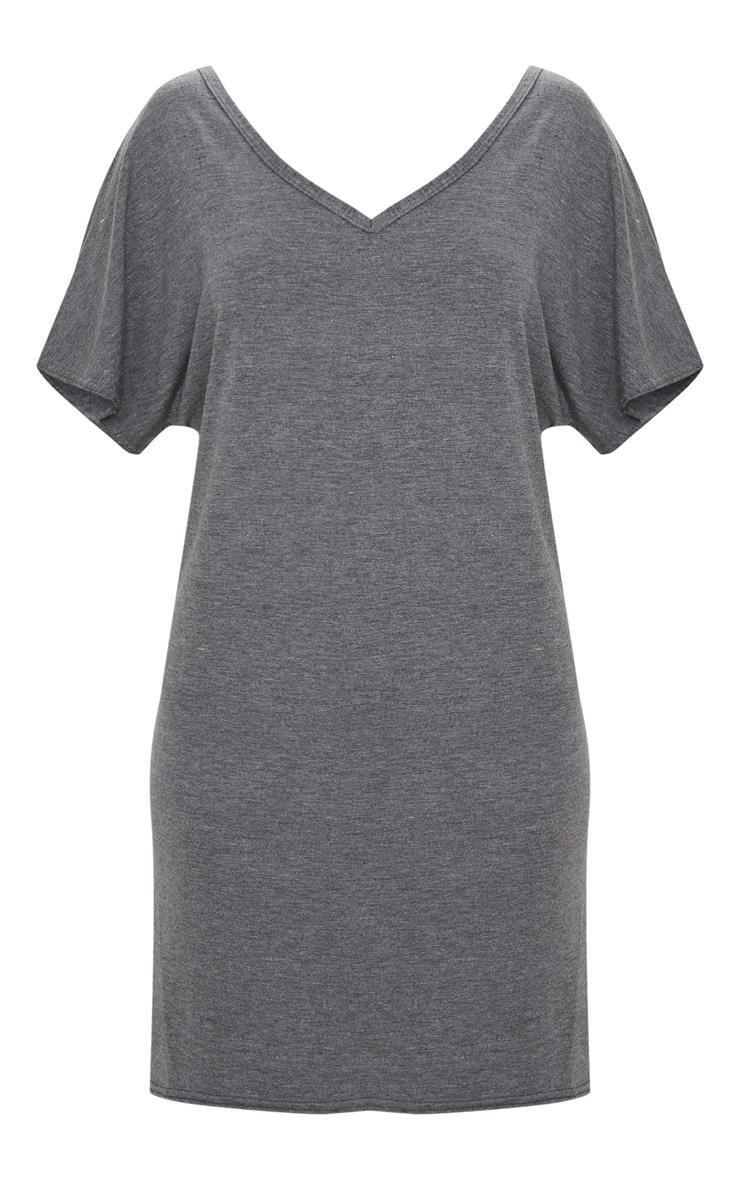 Charcoal V Neck T Shirt Dress 3