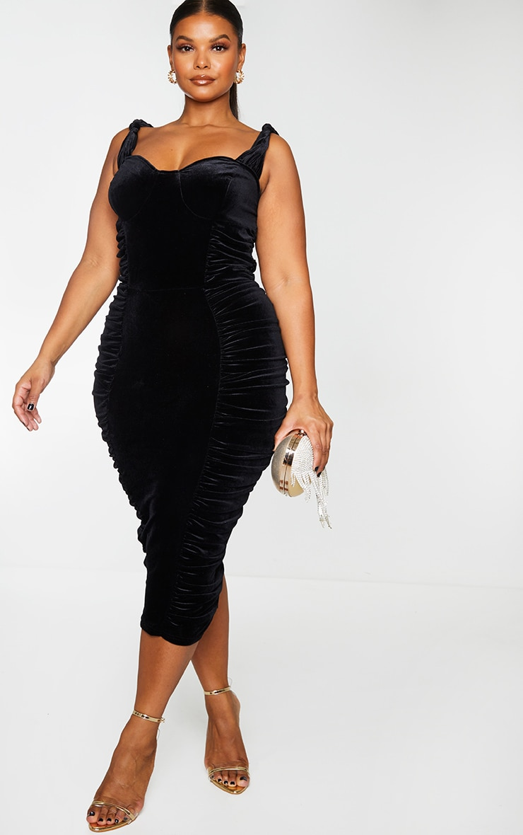 Plus Black Velvet Extreme Ruched Side Detail Midi Dress 3
