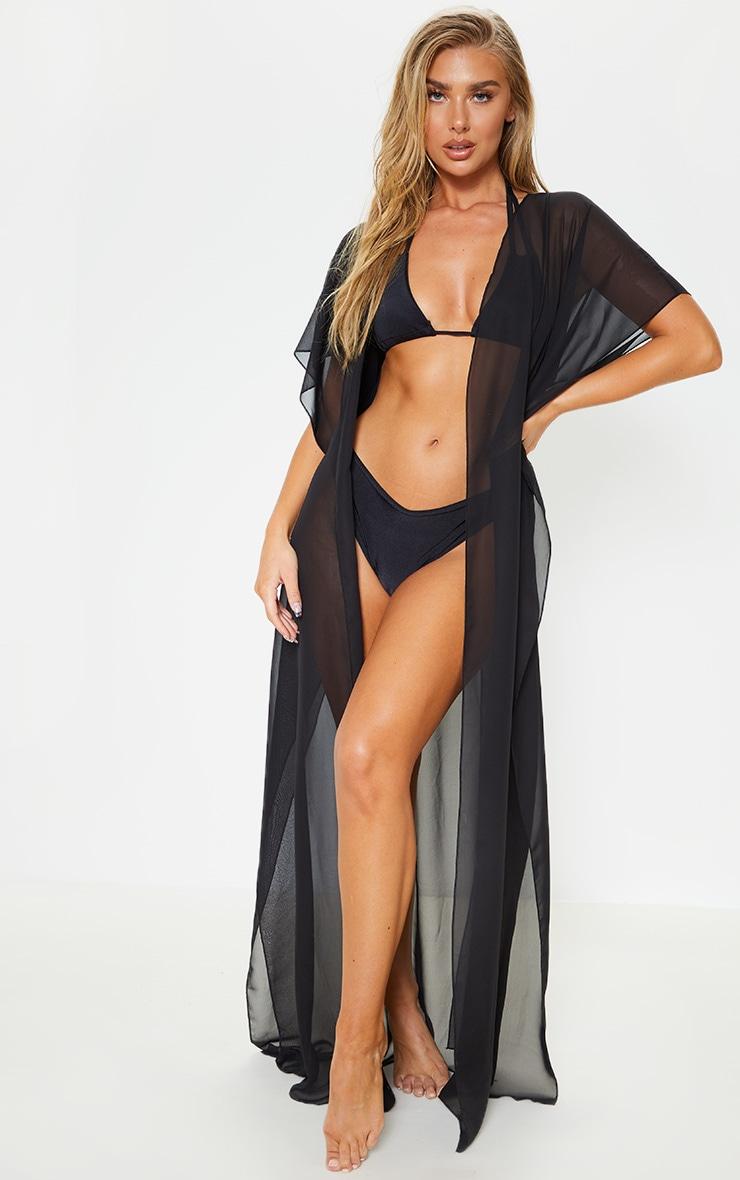 Black Sleeveless Maxi Beach Kimono 1