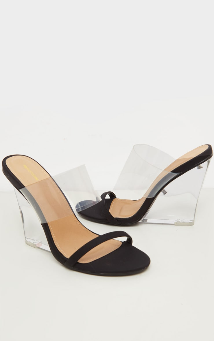 Black Clear Wedge Mule Sandal 3