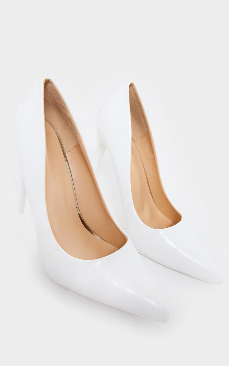 White Croc Matte PU High Court Heel Shoes 3