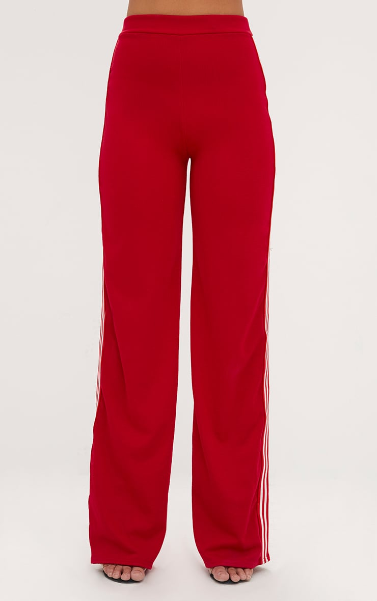 Red Stripe Wide Leg Track Pants  2